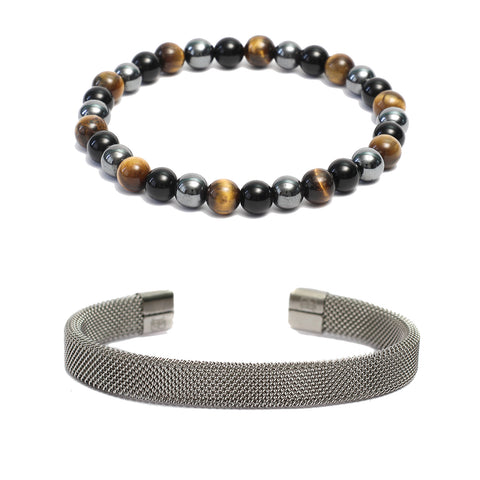 Bracelet Combo: Beaded Link Bracelets in Hematite, Onyx  Tiger Eye Gemstone Beads & Steel Mesh Cuff Bracelet