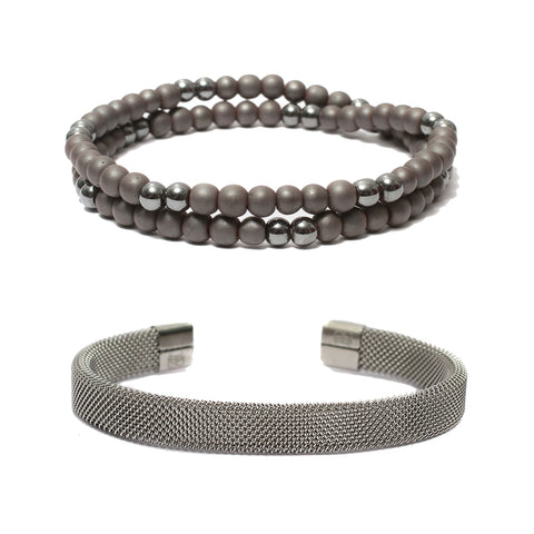 Bracelet Combo: Beaded Wrap Bracelets in Hematite Gemstone Beads & Steel Mesh Cuff Bracelet