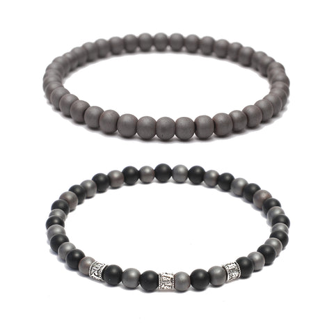 Bracelet Combo: Beaded Link Bracelets in Hematite, Onyx, Gemstone Beads