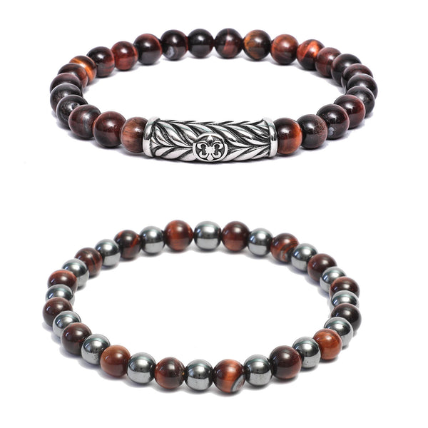 Bracelet Combo: Beaded Link Bracelets in Hematite, Red Tiger Eye Gemstone Beads & Fleur De Lis Motif