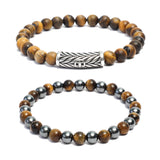 Bracelet Combo: Beaded Link Bracelets in Hematite , Yellow Tiger Eye Gemstone Beads & Fleur de lis motif