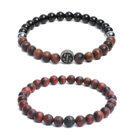 Bracelet Combo: Beaded Link Bracelets in Black Onyx & Red Tiger Eye Gemstone Beads