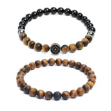 Bracelet Combo: Beaded Link Bracelets in Black Onyx & Yellow Tiger Eye Gemstone Beads