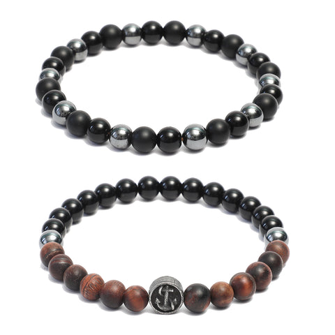 Bracelet Combo: Beaded Link Bracelets in Black Onyx, Hematite & Red Tiger Eye Gemstone Beads