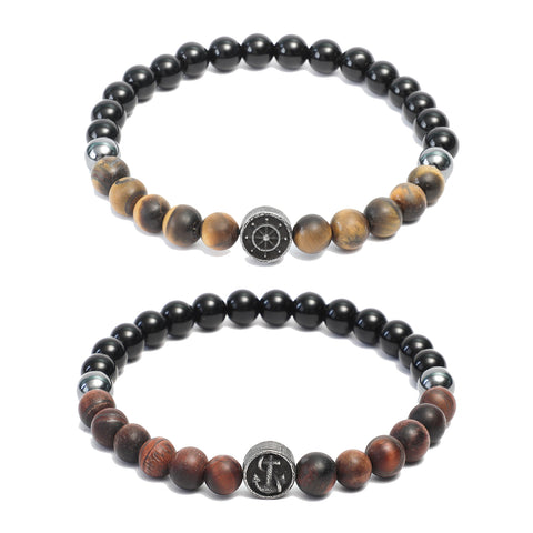 Bracelet Combo: Beaded Link Bracelets in Black Onyx, Red & Yellow Tiger Eye Gemstone Beads