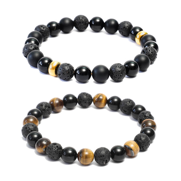 Bracelet Combo: Beaded Link Bracelets in Black Onyx, Volcanic lava  & Yellow Tiger Eye Gemstone Beads