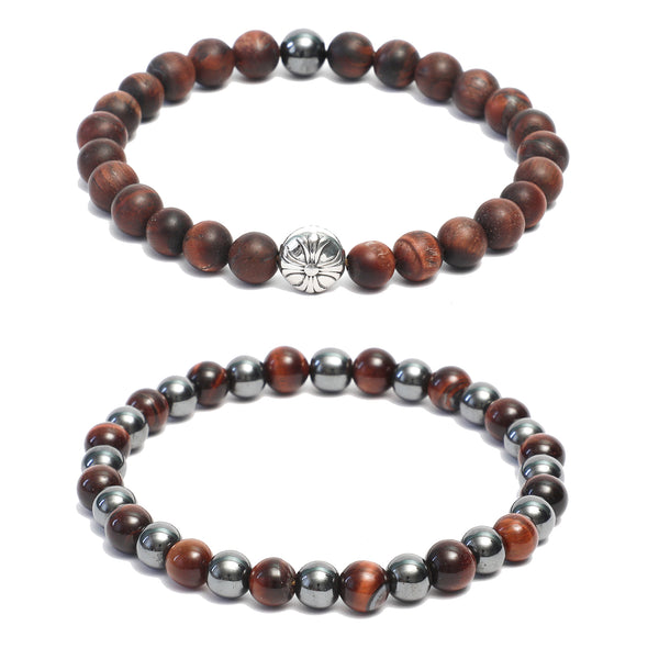 Bracelet Combo: Beaded Link Bracelets in  Red Tiger Eye & Hematite Gemstone Beads
