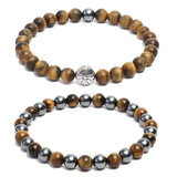 Bracelet Combo: Beaded Link Bracelets in Yellow Tiger Eye & Hematite Gemstone Beads