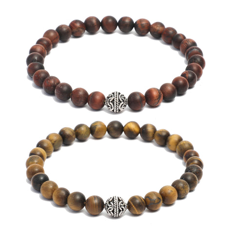 Bracelet Combo: Beaded Link Bracelets in Red, Yellow Tiger Eye Gemstone & Sterling Silver bead