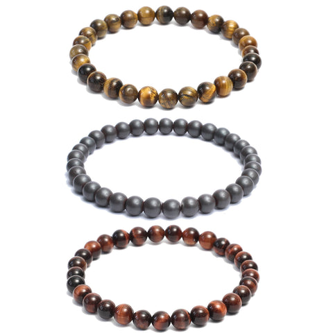3 Bracelet Combo: Beaded Link Bracelets in Hematite, Red & Yellow Tiger Eye Gemstone Beads