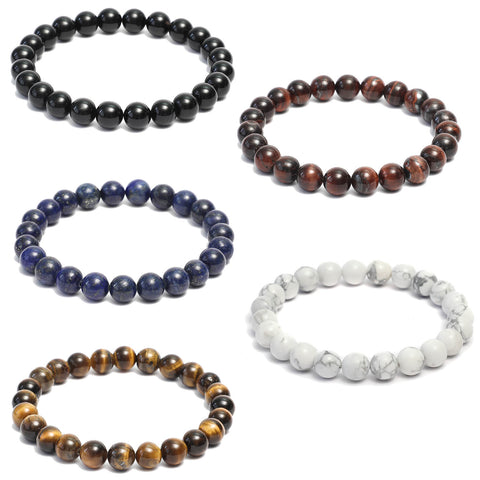 5 Bracelet Combo: Beaded Link Bracelets in Black Onyx ,Howlite, Lapis Lazuli, Red & Yellow Tiger Eye Gemstone Beads