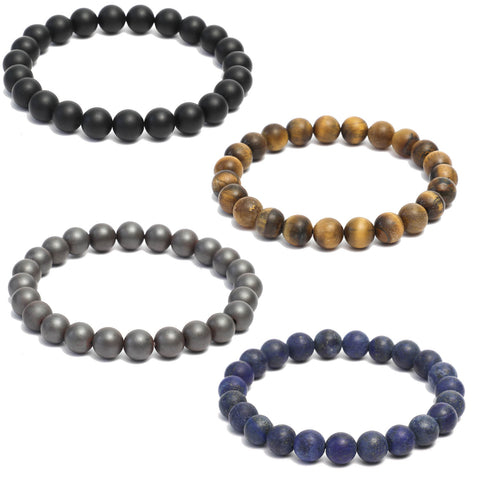 4 Bracelet Combo: Beaded Link Bracelets in Black Onyx ,Hematite , Lapis Lazuli & Yellow Tiger Eye Gemstone Beads