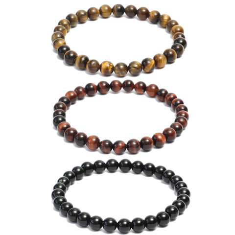 3 Bracelet Combo: Beaded Link Bracelets in Black Onyx ,Red & Yellow Tiger Eye Gemstone Beads