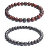 Bracelet Combo: Beaded Link Bracelets in Red Tiger Eye, Hematite Gemstone & CZ diamond bead