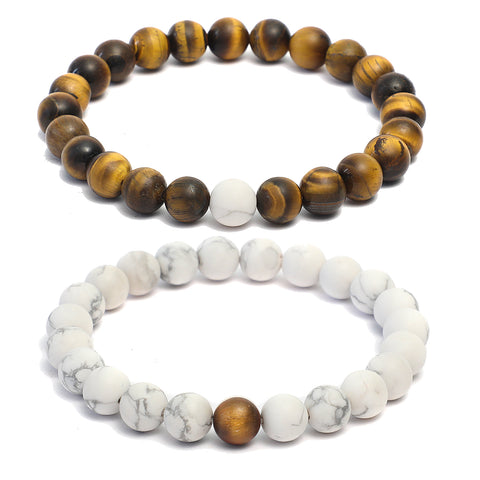 Forever US Matching Distance Bracelets in Tiger Eye, Howlite Gemstone Beads