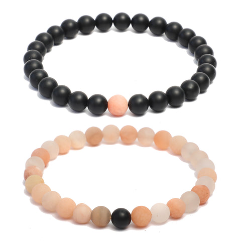 Forever US Matching Distance Bracelets in Black Onyx & Moonstone Gemstone Beads