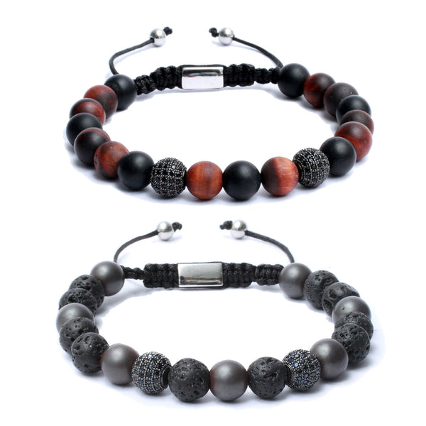Bracelet Combo: Beaded Macrame Bracelets in Black Onyx, Volcanic lava, Hematite & Red Tiger eye Gemstone beads with CZ diamond ball bead