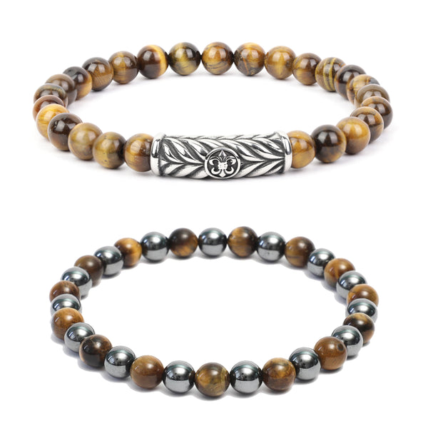 Bracelet Combo: Beaded Link Bracelets in Polished Yellow Tiger Eye, Hematite Gemstone Beads & Fleur de lis motif
