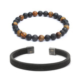 Bracelet Combo: Beaded Link Bracelets in Laval, Tiger Eye Gemstone Beads & Steel Mesh Cuff Bracelet
