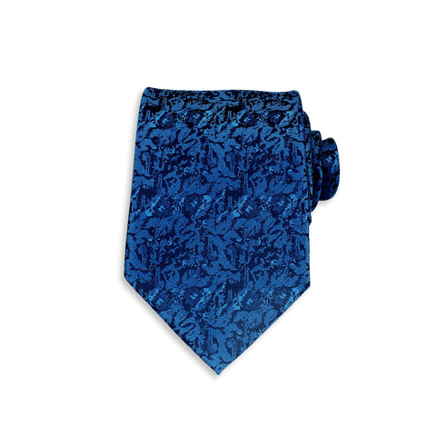 Floral Buzz Silk Tie, Royal Blue