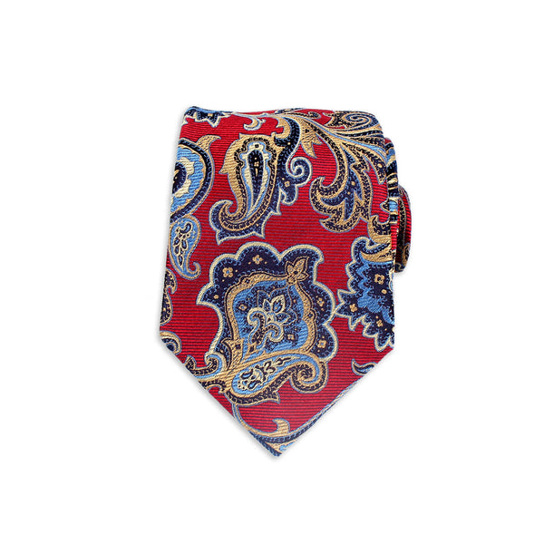 Snazzy Paisley Silk Tie, Red
