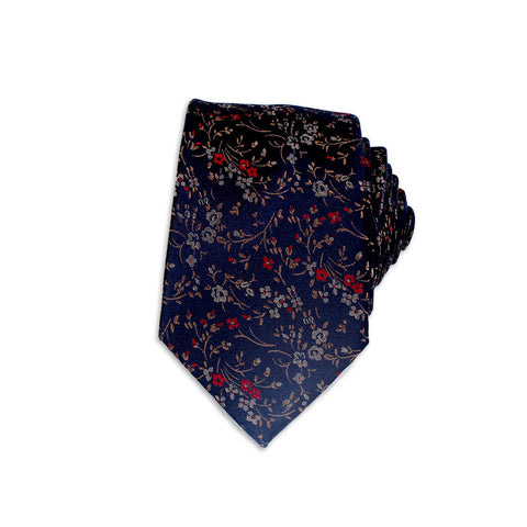 Free Fall Floral Theme Silk Tie, Navy
