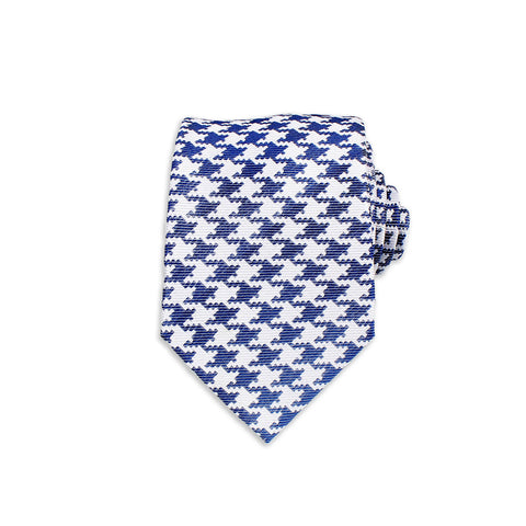 Houndstooth Silk Tie, Blue & White