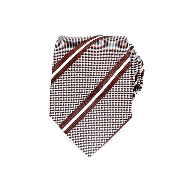 Classic Striped Silk Tie, Brown & White