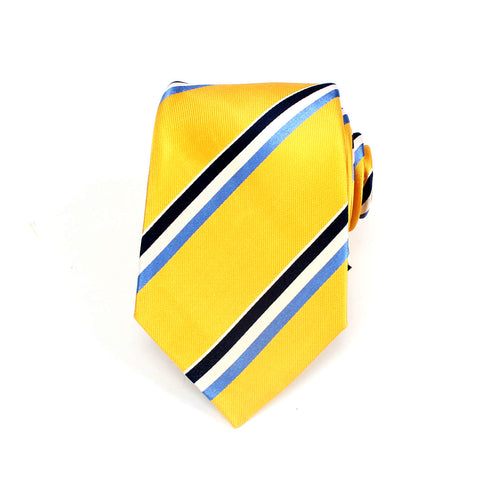 Classic Striped Silk Tie, Yellow & White