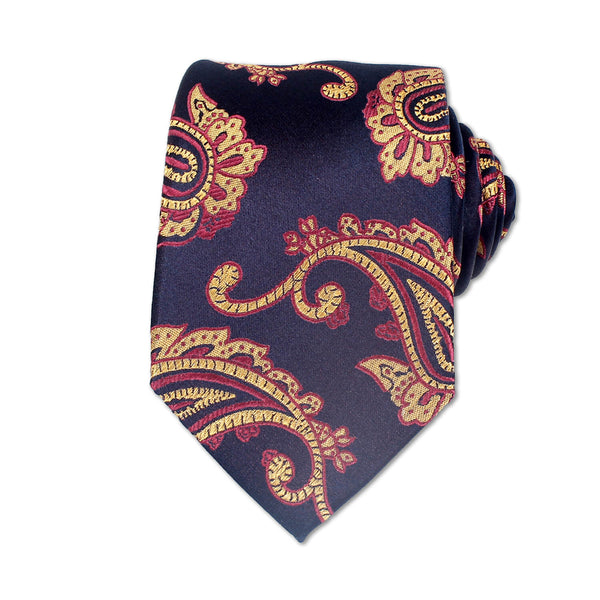 Ceremony Paisely Silk Tie, Dark Blue