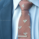 Bee Novelty Tie, Red & White Stripes