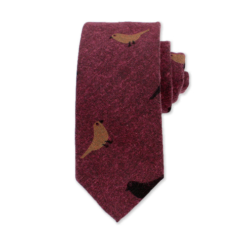 Bird Novelty Tie, Burgundy
