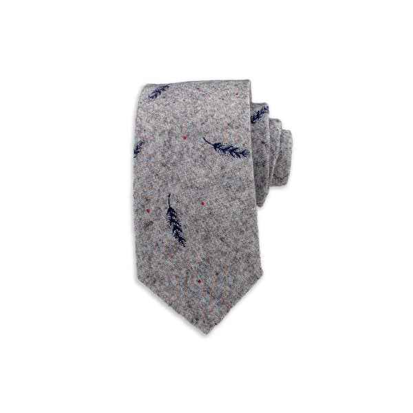 Feather Novelty Tie, Grey