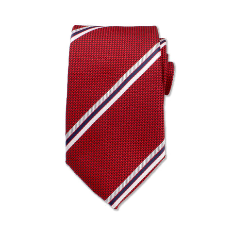 Deep Red & Blue Striped Neck Tie