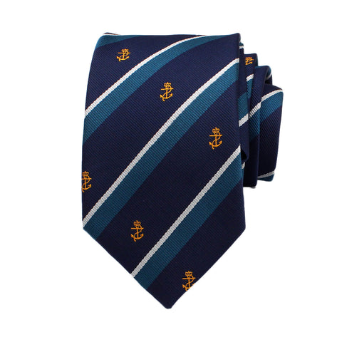 Anchor Striped Novelty Neck Tie, Blue