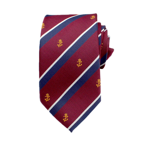 Anchor Striped Novelty Neck Tie, Burgundy