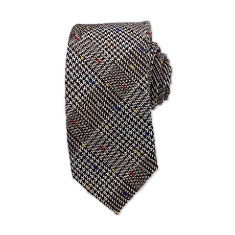 Chequered Neck Tie, Grey