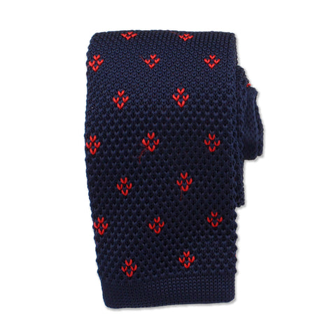Pattern Knitted Neck Tie, Blue & Red