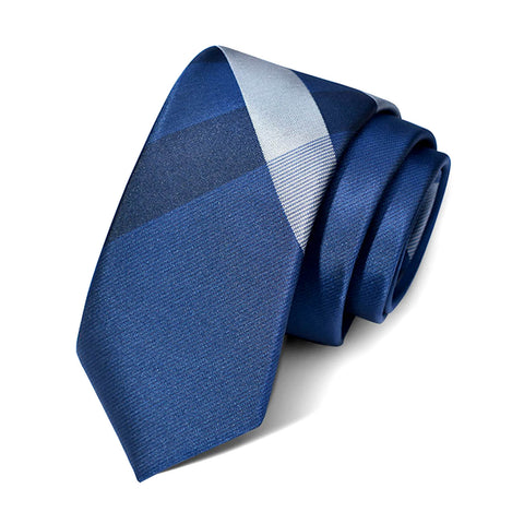 Chequered Pattern Royal Blue Silk Tie