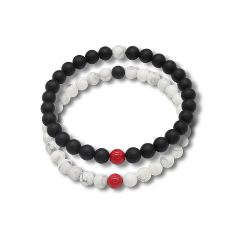 Forever US Matching Distance Bracelets in Onyx, Howlite & Red Coral Gemstone Beads