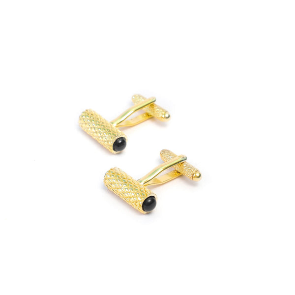 Diamond Details Cufflink Set with Onyx Gemstone