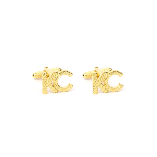 Custom Initial Cufflink Set with Texture Metal