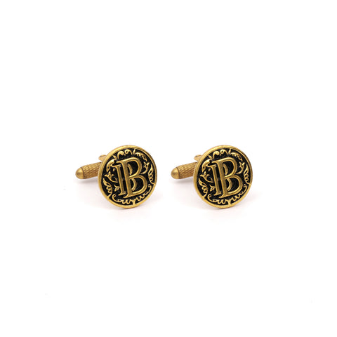 Custom Initial Cufflink Set with Antique Filigree Work