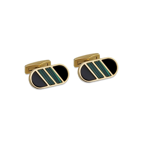 Black Onyx & Malachite Gemstone Inlay Cufflink Set