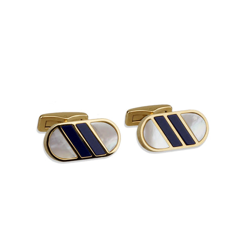 Lapis Lazuli & Mother of Pearl Inlay Cufflink Set