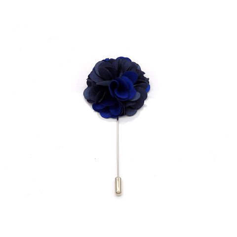 Two Tone Flower Bunch Lapel Pin, Royal Blue