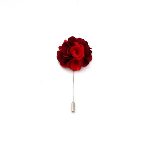 Two Tone Flower Bunch Lapel Pin, Red