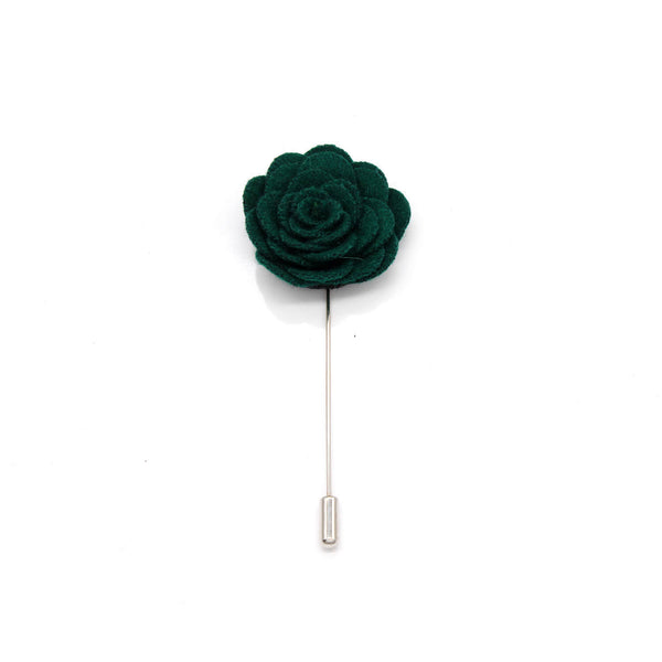 Felt Single Rose Lapel Pin, Dark Green