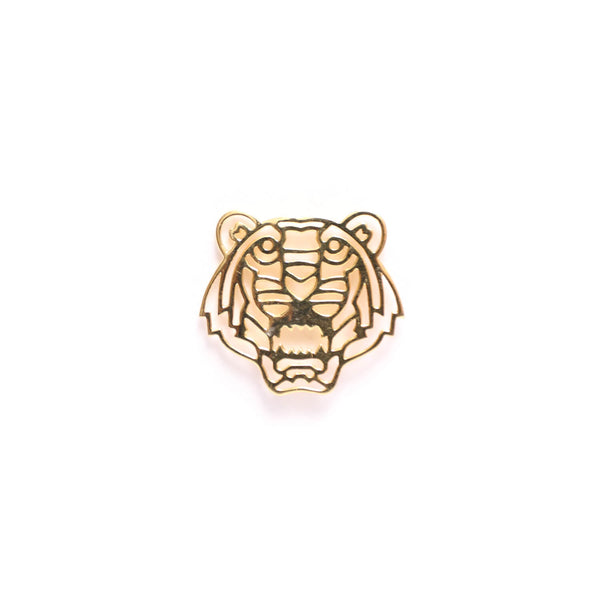 Geo Facet Tiger Head Lapel Pin