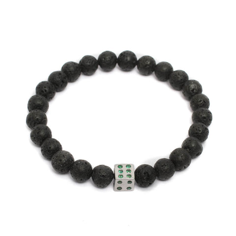 Players Dice Bracelet in Volcanic Lava Beads